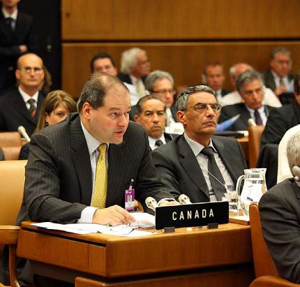 CNSC representative at a meeting of the IAEA Joint Convention